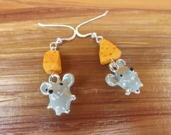 Mice with cheese earrings, mice earrings, mouse earrings, rodent earrings, cheese earrings, animal jewellery, food earrings, fun earrings