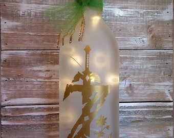 Legends of Zelda/Breath of the Wild/WIne Bottle Decoration with Lights/Wedding/Shower/personalized/Glass/Gift/Gamer/Bedroom/Bathroom/Bar