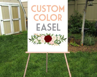 CUSTOM COLOR Easel . Any Color Hand Painted to Order . Large Wood Floor Stand Sign Display . Lightweight Foam Board, Canvas, Frames No Glass