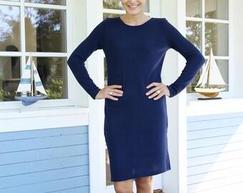Classical Dress   Merino Wool Dress   Women Dress   Minimal Dress    Comfy Dress   Blue Dress   Simple Dress   Warmly Dress   Long dress  