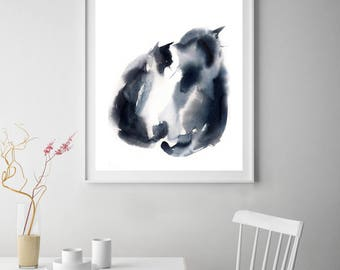 Minimalist Cats art print, Couple of cats watercolor painting print, minimalist modern wall print of cats, black and white print