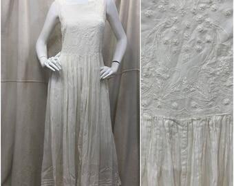 Vintage Gauze Dress 90s Sleeveless Oversized Boho White Embroidered India Gauze Medium