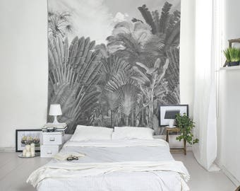 Botanical Art Wall Tapestry, Black And White, Vintage Tapestry, Tropical Tapestry, Wall Decorating, Botanical Decor, Dorm Tapestry