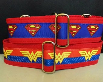 "Martingale Collar - Whippet, Greyhound - 1.5"" width - Super Heroes - Superman & Wonder Woman"