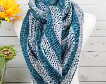 Teal blue, lavender, gray speckled oversized scarf, triangle shawl, wool striped wrap, large openwork triangle scarf