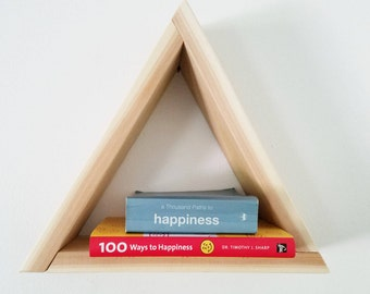 Small Wood Triangle Shelf - Cedar - Fathers Day gift idea - Minimalist - Geometric - Sacred Geometry - Bookshelf -  floating shelf