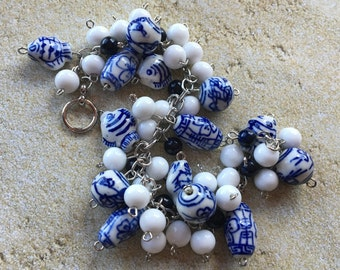 Asian Flair Blue and White Beaded Bracelet, Beadwork Jewelry, Beaded Jewelry, Gift For Her, Lampwork Bracelet