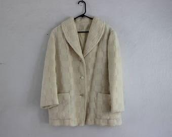 SALE White Chunky Knit Coat Plus Size
