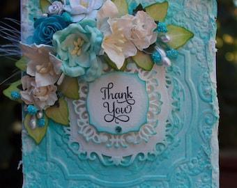 Thank you handmade card, OOAK card, Peacock Blue and White Flower Card