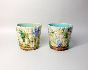 Pair of Small French Antique Barbotine Planters - Majolica Style - Bindweed Decor - Art Deco Style - 20s/30s