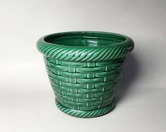 French Vintage Green Ceramic Planter Pot - Basketwork Decor