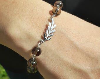 Silver branch bracelet, smokey quartz bracelet, sterling silver leaf bracelet, olive leaf bracelet, branch bracelet, unisex bracelet, gift