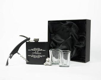Groomsmen Flask, Personalized Flask Set, Engraved Flask, Hip Flask, Bachelor Party Gift, Custom Flask, Monogram Flask, Groomsman or Best Man