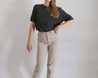 Soft Vintage Navy Blue Short Sleeve Blouse with Grid Pattern