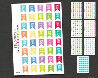 Day Off Flags Planner Stickers  - Repositionable Matte Vinyl