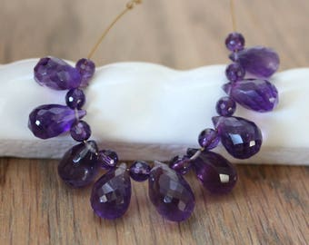 Amethyst Faceted Briolette Teardrop Beads. 11-14mm.  Plus Amethyst Faceted 4mm Round. 9 Briolettes and 10 Rounds. 3 Inch Strand. #544