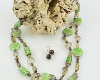 2 strand glass bead necklace OOAK Green necklace Gemstone Semi-precious necklace Beauje Smokey quartz necklace