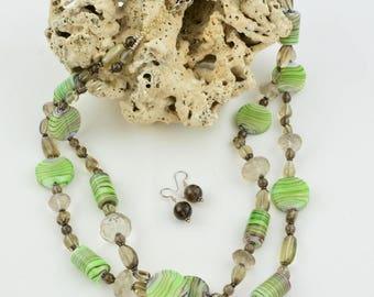2 strand glass bead necklace OOAK Green necklace Gemstone Semi-precious necklace Beauje Smokey quartz necklace