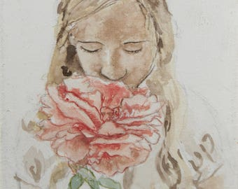 Girl with Large Flower Watercolor Painting 5 x7