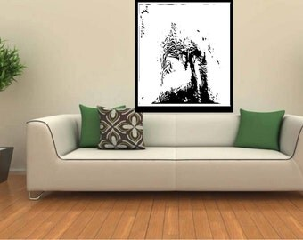 Black and White abstract giclee print, original abstract art, acrylic abstract wall art, fine art canvas, modern acrylic contemporary  print