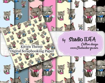 "INSTANT DOWNLOAD- Kitten Theme Digital Scrapbooking Paper 12""x12"" -300dpi -Digital Design Paper"
