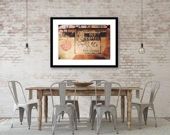 Coffee Art, Kitchen Decor, Vintage Coffee Sign, Hipster Decor, Dining Room Decor, Cafe, Coffee Shop Decor, Large Wall Art