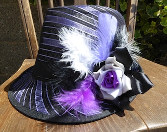 Fabulous Limited Edition Asexual Rose and Feather Black & Purple Trilby Hat