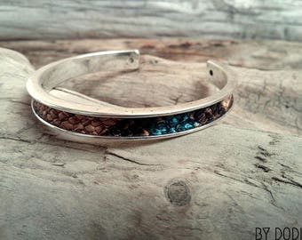 Bracelet snap ring imitation leather brown blue and beige python Boho jewelry By Dodie