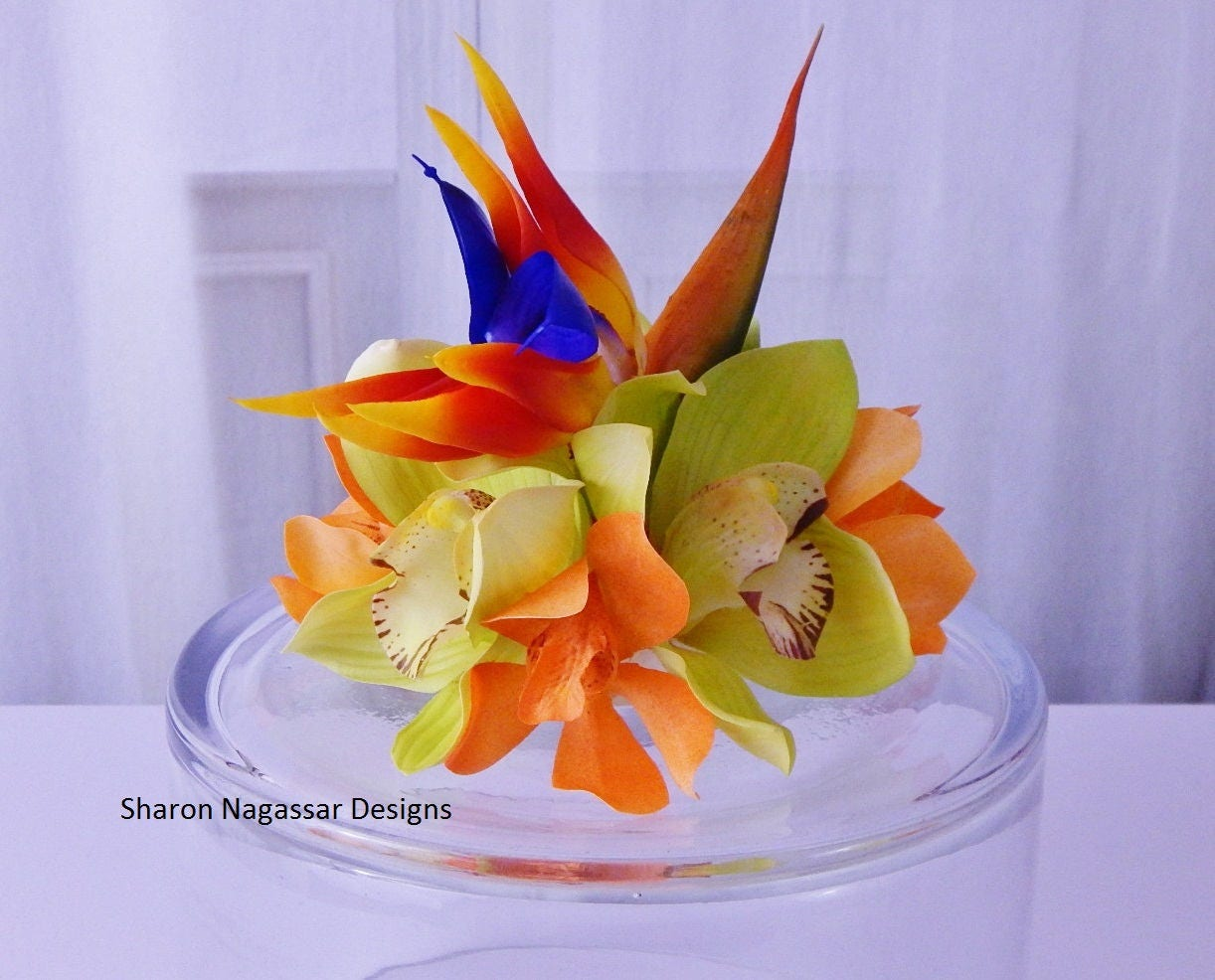 Orange Blue Green Tropical Bird Of Paradise Orchids Cake