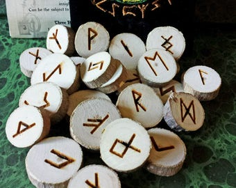 Lilac Wood Runes, Rune Set, Wood Runes, Elder Futhark, Viking Runes, Casting Runes, Wooden Runes, Divination Tools, Witchcraft, Wicca, Witch