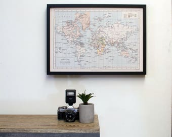 A2 Around the World -  Personalized Map pinboard in Black frame, vintage look customized travel map- home decor, wall art, first anniversary