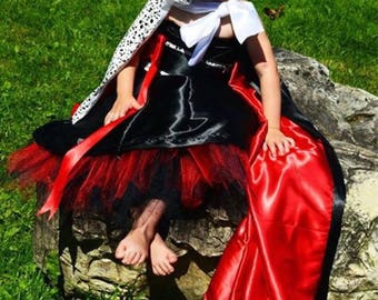Just Released!!Disney Cruella Inspired Ballgown Dress | Designer Birthday or Dress Up Costume