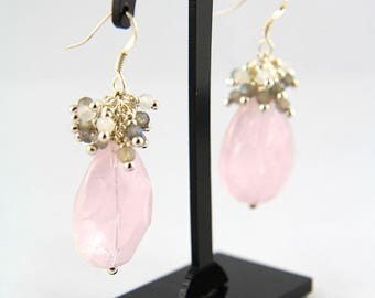 Silver 925 Earrings, Pink quartz drop, Labradorite and Moonstone Clusters, Natural stone earrings