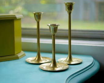 Vintage Mid-Century 1970's Solid Brass Candlestick Holders (Set of 3)