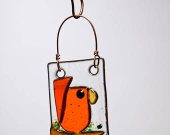 Happy Orange Bird Handmade Fused Glass Suncatcher Ornament