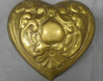 Old vintage hand tooled heart shaped brass jewelry trinket box