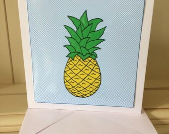 Pineapple Card, Tropical Card, Blank Card, Blank for your own words, Note Card, Pineapple Birthday Card, Pineapple Notecards,