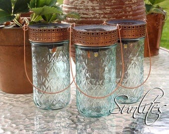 Solar Lanterns, tinted Blue * Set of 3 * Tall Jelly Jars * Copper Lids & Hangers