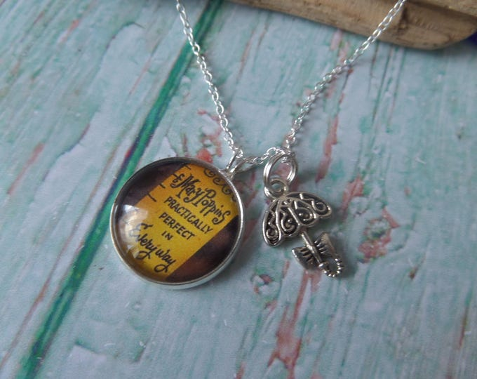 Mary poppins gift, practically necklace, poppins necklace, umbrella necklace, practically perfect, teacher necklace, sandykissesuk