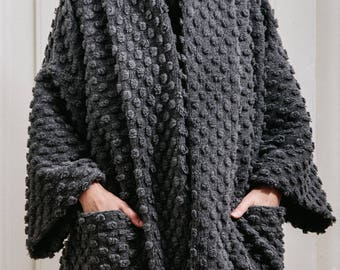 Oversized wool cardigan / Textured gray lagenlook cardigan / Woman's winter two pocket coat / Shapeless wool winter cardigan / Fasada 1688