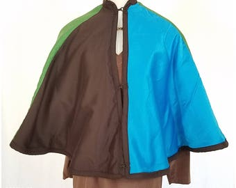Paneled brown, turquoise and green cape - One size