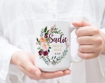 Custom Bridesmaid Mugs, Custom Bridesmaid Cups, Custom Wedding Party Cups, Custom Bridal Party Cups, Marsala  Fall Wedding, Maid of Honor