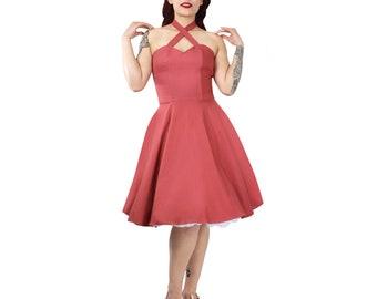Pink Criss Cross Halter Dress XS-3XL