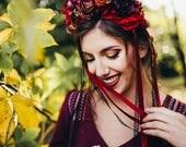 Boho wedding hair wreath Bridal accessories Red flower crown Floral crown Wedding accessories Magaela Handmade