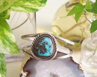 Vintage Turquoise Cuff Bracelet, Sterling Silver Vintage Jewelry, Southwestern Vintage Boho Jewelry, Turquoise Bracelet Jewelry