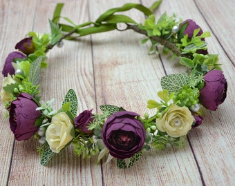 Plum Wedding crown Wedding flower crown Ivory flower headband Wedding flower halo Wedding flower headpiece Rustic wedding halo Bridal halo