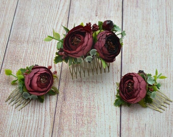 Burgundy hair comb Bridal hair accessories Gift/for/wife Bridal hair style Wedding flower comb Summer wedding Womens gift Bridal hair comb