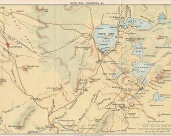 1893 Rototua New Zealand Antique Map
