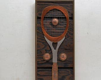 Mid Century Modern Metal String Art Vintage Tennis Racquet Ball by Carl Reed; Wood and Framed; FREE SHIPPING U.S.A.
