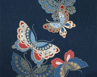New Japanese cotton Noren quilting panel cloth - butterflies